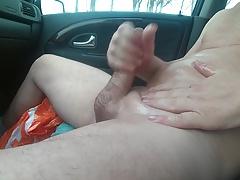 wanking my oily dick in my car