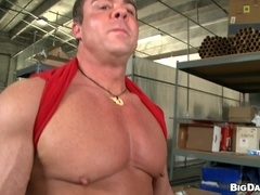 Muscular homosexual drills his buddy's black butt doggy style