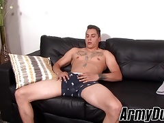 Hot Xavier Cross enjoying solo session with jerking off