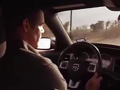 young boy suck in the car