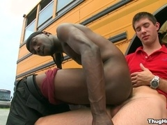 Ebony queer sucks a dick and gets his butt smashed outdoors