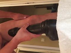 Massive dildos deep up my ass with 2 cum dumps