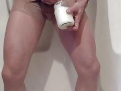 Cum Bath in Pantyhose