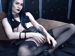 Goth Tgirl Plays on Cam