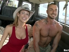Sexy tattooed poofter sucks a cock and rides it in a car