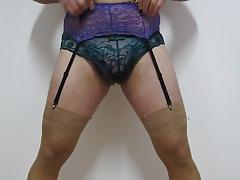 Mixing thong,panties,nylons and garter