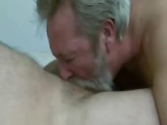 Beard daddy fellate and gobble jizz