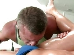 Man-loving gives bj male-female knob