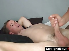 Hairy babe nails a twink with a strapon