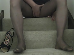 Pants heels pantyhose no cum