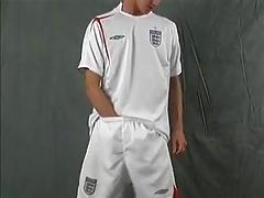 Sport lad wanking in white socks