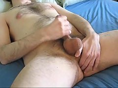 Guy Wanking On A Bed All Alone
