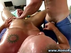 Muscular gay guy gives straight guy a blowjob