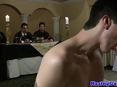 Straight twink pledges frat with anal sex