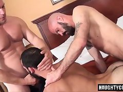 Hairy bear threesome and creampie