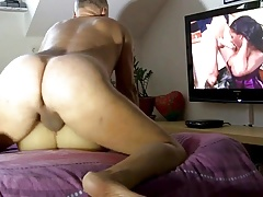 Porn actor Cane exercising on a doll