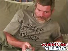 Bearded construction worker drains hot cum from his big cock