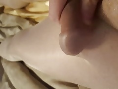CD friend finally cumming in pantyhose