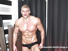 Just for you a muscle model oils up flexes and cums