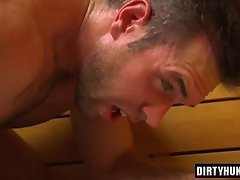 Muscle gay dildo with cumshot
