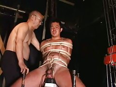 Hogtied Asia Guy Gets Handjob