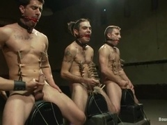 Three salacious poofs get tortured and fucked by Spencer Reed