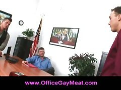 Three guys turn a business meeting into a gay threesome