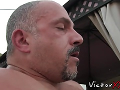 Horny old fuck buddies have one nasty gay threesome sex