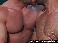 RagingStallion Hairy Hunks 3Way Anal Sandwich