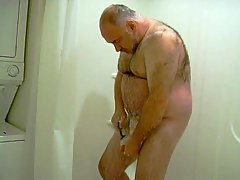 Fat Bear Shaving & Stroking Cock