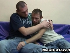 Skinny gay gives a blowjob and gets his ass drilled in missionary pose