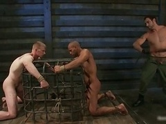 Ligatured dude gets his anus licked homo BDSM vid 4