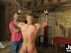 Hot tattooed beggar gets imprisoned and barebacked by master