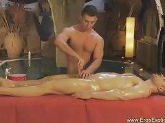 Sensual Handjob For A Massaged Guy