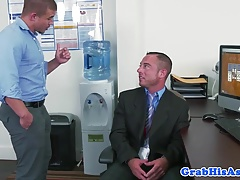 Interracial hunk analy punished in office trio
