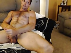 A hot hairy gay jerks off