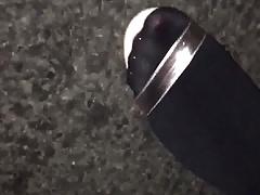 Shiny feet in strappy heels