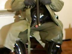 Wanking in Polish NBC coat.