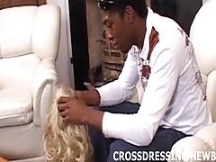 Crossdressing in white lingerie makes my black cock so hard