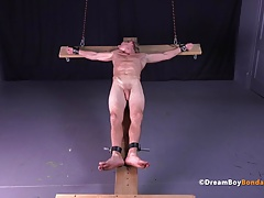 Uncut Muscle Stud Crucifixion Cross BDSM Gay Bondage Hung
