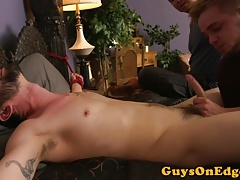 Tattooed edging bdsm restrained and jerked