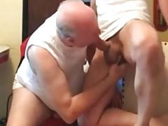 Old mature grandpa playing the other man's big cock