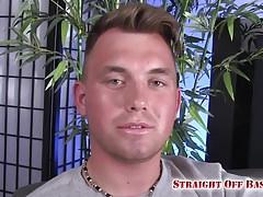 Marine Easton covers his fist in cum.
