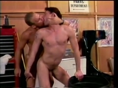 Blond queer fucks his BF's ass from behind after they pet each other