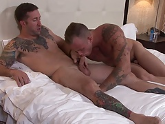 ActiveDuty Hunky Brad's First Time with A Guy!