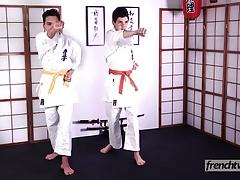 Two young karatekas naked under their kimonos