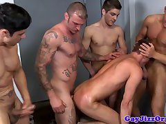 Alex Andrews spit roasted by workmates