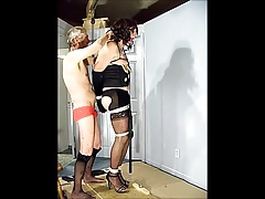 Crossdresser gets cock and torture