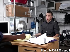 Hot white stud gets rammed by big black dick in the office