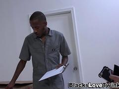 Raunchy black guy makes a white twink moan hard